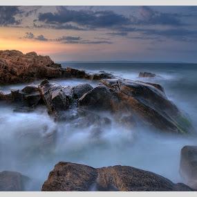 Chernomorets... by Стефан Стефанов - Landscapes Beaches ( sea, l, seaside, seascape, landscape, red, sky, landmarks, sunset, landscape photography, rock formation, rocks, slow speed )