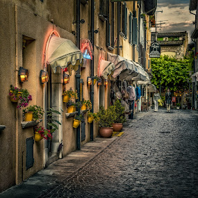 by Dobrinovphotography Dobrinov - City,  Street & Park  Street Scenes ( famous place, europe, street, architecture, cityscape, house, multi colored, city, narrow, building exterior, sirmione, town, italy )