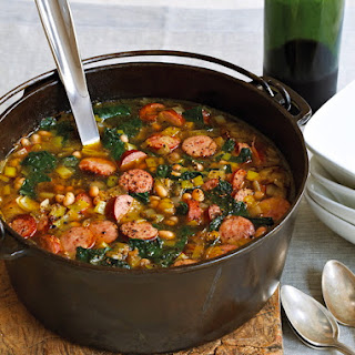 Hearty Bean, Kale, and Kielbasa Soup