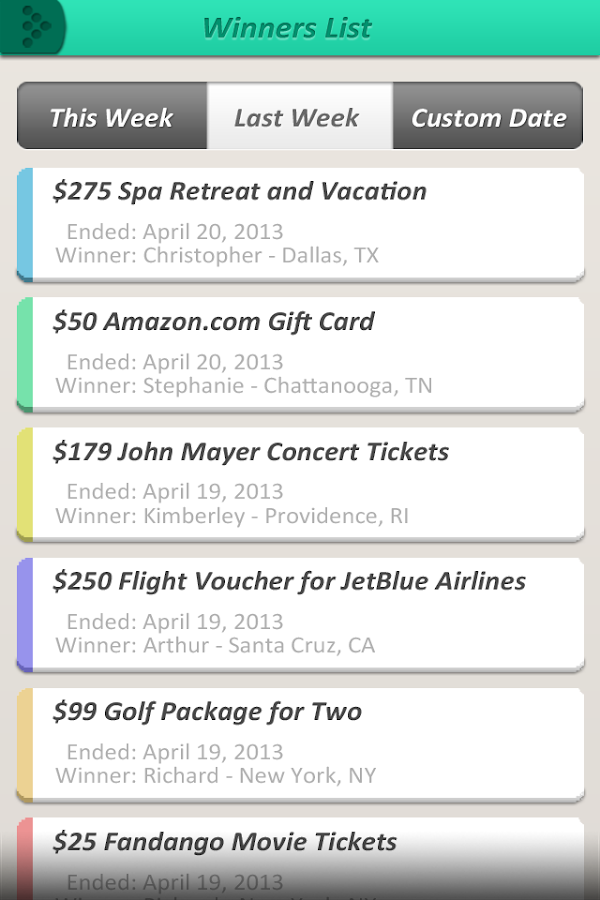 Sweepstakes App Screenshot 2