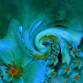 TWIRL by Carmen Velcic - Digital Art Abstract ( abstract, turquise, blue, flowers, digital, twirl )