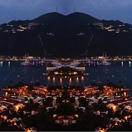 Reflection of Charlotte Amalie  by Adlah Donastorg - Digital Art Places ( waterfront sea harbor travel marina )