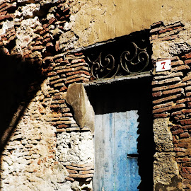Blue door by Alexandra Rafaila - Buildings & Architecture Homes ( home, old, building, blue, brick, door, france, architecture, house, decay,  )
