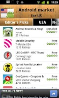 Screenshot of USA Android Market