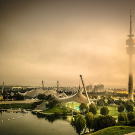 Olympic Dawn - 2011 by Thomas Hertz - Buildings & Architecture Other Exteriors ( olympic swimming pool, olympiapark, olympia park, green, münchen, seascape, munich, olympic tower, long exposure, sunrise, olympiaturm, mist, olympiaberg )