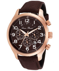 Lucien Piccard Men's Treviso Chronograph Brown Dial Brown Canvas
