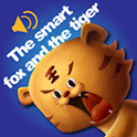 The smart fox and the tiger icon