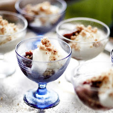 Roasted Rhubarb Coupe with Macadamia Crumble