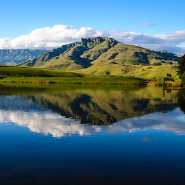 Tranquil Angler by Jon Feldman - Landscapes Mountains & Hills ( tranquil, south africa, lake, drakensberg, fishing )