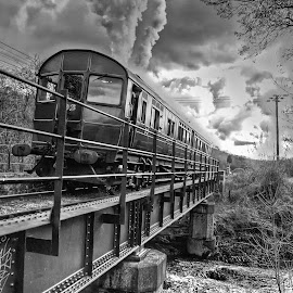 Over the bridge by Barry Knapper - Transportation Trains ( r93, froghall, cvr, railmotor, steam )