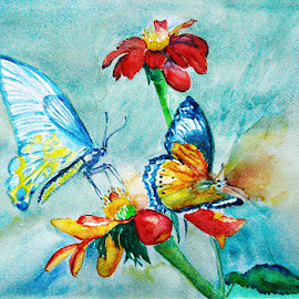 Beautiful day by Artica Arta - Painting All Painting ( watercolor, butterflies, nature up close, flowers, painting )