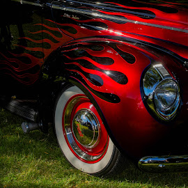 Flaming Red by Andrea Doolittle - Transportation Automobiles