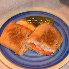 Crusty Garlic Grilled Cheese and Tomato Sandwich