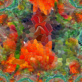 Flowery Fractal Abstract by Tina Dare - Digital Art Abstract ( abstract, orange, patterns, designs, colorful, ripples, fractal, mosaic, stained glass, shapes )