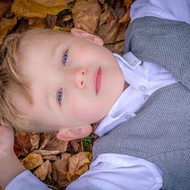 Christian by Brandi Davis - Babies & Children Child Portraits ( fall, outdoor, leaves, boy, portrait, , color, colorful, nature )