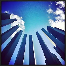 Looking Up in by Alejandra Romero - Buildings & Architecture Architectural Detail ( blue )