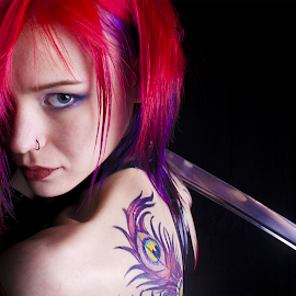 Sam in technicolor by Wesley Weaver - People Body Art/Tattoos ( red hair, colorful, blue eyes, tattoo, katana, sword, person, people,  )