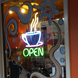 Time For A Coffee by Anne Johnson - City,  Street & Park  Markets & Shops ( sign, market, signage, coffee shop, city )