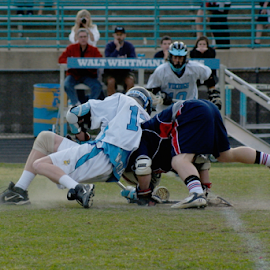 The Face Off by Werner Ennesser - Sports & Fitness Lacrosse ( ball, high school, sports, helmet, walt whiteman, lacrosse,  )