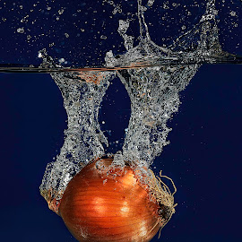 Blue Onion by Troy Wheatley - Food & Drink Fruits & Vegetables ( water, splash, blue, wet, vegetable, onion )