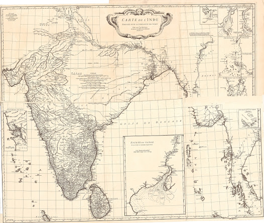 Jean-Baptiste Bourguignon D'anville  <b>India</b> 1752 Copper engraving, 97 x 109 cm.  The first large-format map to depict India as single coherent entity and a major monument of Enlightenment Era cartography, based upon the latest authoritative sources.   This important work represents first large-format printed map to embrace of all of India. It was prepared by Jean-Baptiste Bourguignon D'Anville, then France's leading mapmaker, at the behest of the French East India Company.  D'Anville's map marks a seminal juncture in the evolution of how India was viewed by Europeans. Critically, it can be argued that it is the first detailed map to show the subcontinent as being 'One India', or a single coherent geographical entity.   The map is revolutionary in its stark simplicity. It is entitled 'Carte de l'Inde' (Map of India) and while numerous regions are labeled throughout, political divisions are omitted. Up to this point, maps generally made a point of dividing India into broad regional framings, such as maps of northern or southern / peninsular India or maps focusing on certain Indian states or European colonial enclaves.   Notably, the map also follows the ethic of empiricism favoured by the contemporary European Enlightenment, as D'Anville depicts only details that are based on authoritative sources, while areas unknown or little understood by Europeans are left blank.  While that map was made with French ambitions in mind, it prefigures the notion of India as being united under a single imperial power, a feat later realized by the British 'Company Raj'.