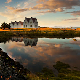 Beautiful sunset  by Anna Guðmundsdóttir - Buildings & Architecture Homes ( iceland, sunset, ísland, straumur,  )