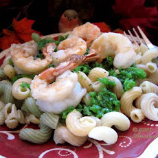 Shrimp Fusilli With Sweet-Pea Pesto