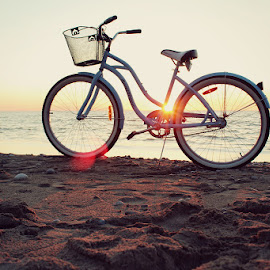 Beach Cruiser by Sonnet Irwin - Transportation Bicycles ( sand, bike, blue, sunset, beach,  )