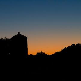Farm Sunset by Lee Weisenburger - Landscapes Prairies, Meadows & Fields ( farm, sunset, grain bin, trees, evening )