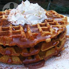 Pumpkin Waffles With Apple Syrup