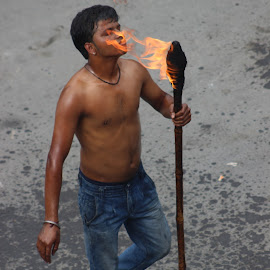 Playing with fire by Pankaj Sanwal - People Street & Candids ( amazing, awesome, beauty, natural, fire )