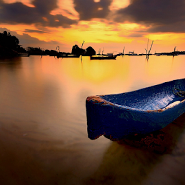 blue boat by Dody Herawan - Transportation Boats ( woodboat, boat )