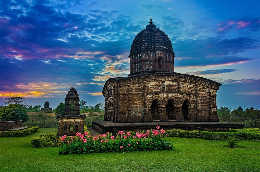 Temple Town Bishnupur by Rahul Chakraborty - Buildings & Architecture Architectural Detail ( temple, nature, sunset, weather, landscape )