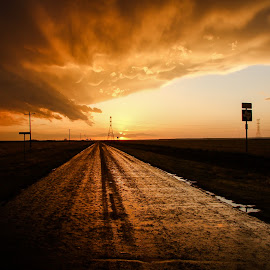 The road less Traveled by Robert Sinner-Storm Chaser - Landscapes Sunsets & Sunrises ( lightning, sunset, cloud, weather, supercell, storm )