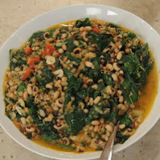 Slow-Cooked Black-Eyed Peas with Wild Greens and Lemon