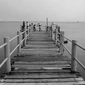 Taman Jaya Pier by Rudi Rachmat - Black & White Landscapes ( color, colors, filter forge, object, landscape, portrait,  )