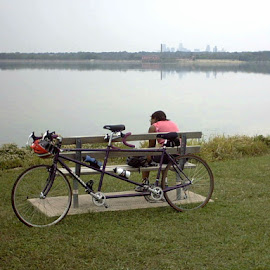 Tandem by the lake by Spacer Conrad - Novices Only Street & Candid ( tandem, rider, bench, lake, bicycle,  )