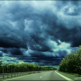 The storm is coming by Alexandra Ciolan - Landscapes Cloud Formations ( clouds, cold, highway, cloudscape, road, storm, rain coming )