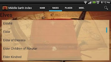 Screenshot of Middle Earth Index