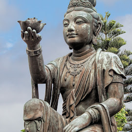 buddhist  by Vibeke Friis - Buildings & Architecture Statues & Monuments ( by the big buddha, hong kong, sculpture,  )
