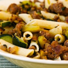 Rustic Pasta Sauce with Hot Italian Sausage, Summer Squash, Onions, and Sage