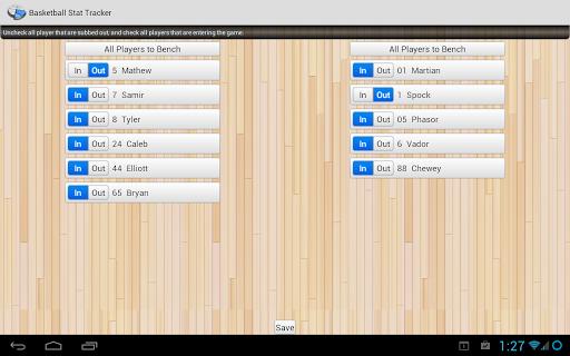 Basketball Stat Tracker - screenshot