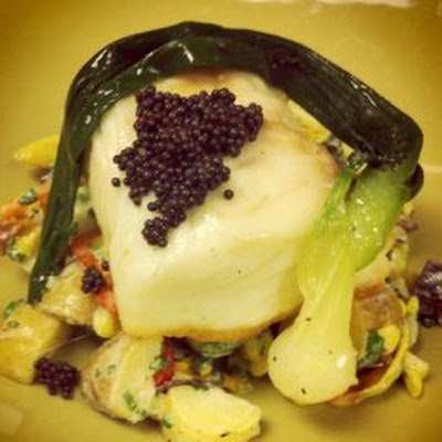 Poached Halibut with Baby Potato Salad