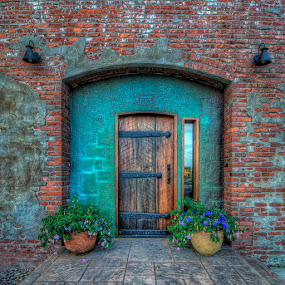 Clam Cannery Entrance by Bill Camarota - Buildings & Architecture Architectural Detail ( detail, patina, wood, brick, door, rustic, iron, historic, entrance,  )