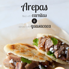 Arepas Filled with Carnitas and Guasacaca