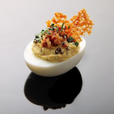Deviled Eggs Carbonara (Crispy Pancetta, Pork Fat, Parmesan Crisps, and Black Pepper)