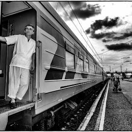 by Leidolv Magelssen - Transportation Trains ( blackandwhite, russia, train, bnw, chef, siberia )