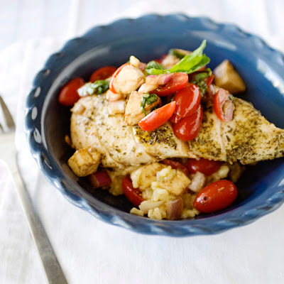 Oven Baked Risotto with Caprese Chicken