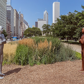 High noon standoff? by Izzy Kapetanovic - Buildings & Architecture Statues & Monuments ( illinois, street, statues, buildings, architecture, chicago )