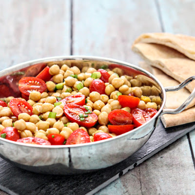 Warm Chickpea Salad with Tomatoes